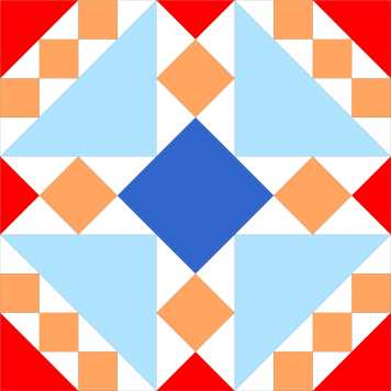 Coronation Block, block on a 10 x 10 grid. Kroningsblok, blok op een 10 x 10 raster