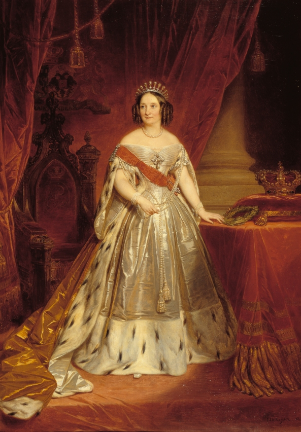 Queen Anna Paulowna in 1840, at the Inauguration of King Willem II, wearing ermine fur.