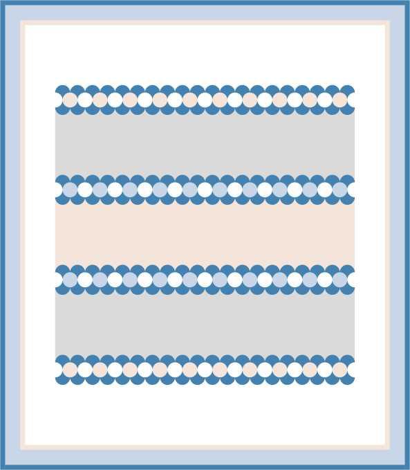 Eenvoudige Horizontal Strip Quilt met Clamshells, variatie 3. De rijen clamshells zijn hier tegen elkaar in geplaatst, waardoor een rij cirkels lijkt te ontstaan.