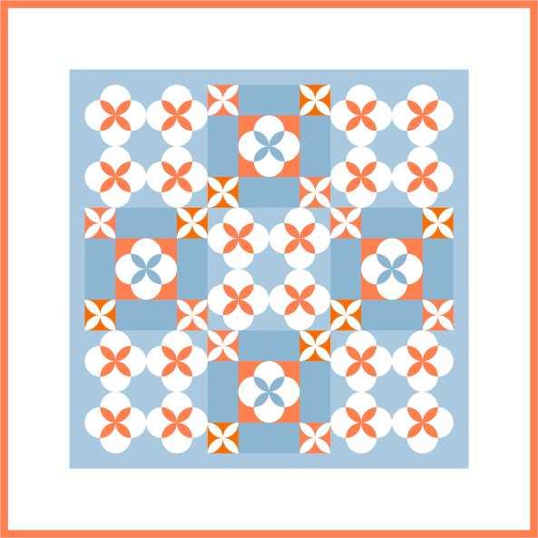 Inklingo Clamshell Rose Variation blokken 16 inch. De gebruikte rechthoeken van 4 x 8 inch zijn niet beschikbaar als Inklingo patroondeel.
